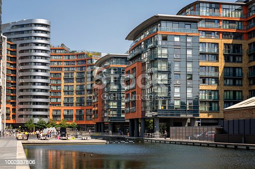 View of the Paddington Basin residential architecture in London