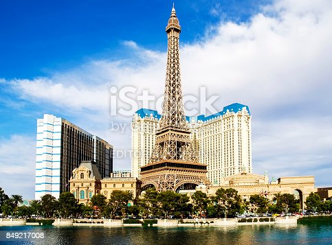 LAS VEGAS, Nevada, USA - May, 2008: View of the Paris Las Vegas hotel and casino in Las Vegas, USA. Located on the Las Vegas Strip, its theme is the city of Paris, France.