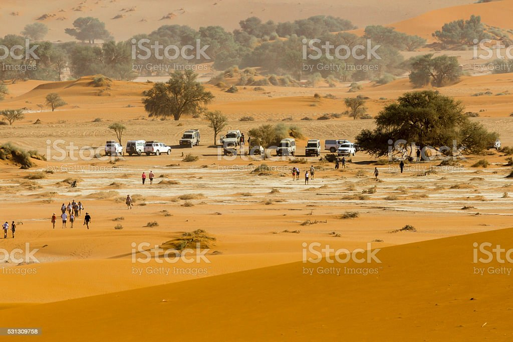 View of the parking in red dunes of Namib Desert stock photo