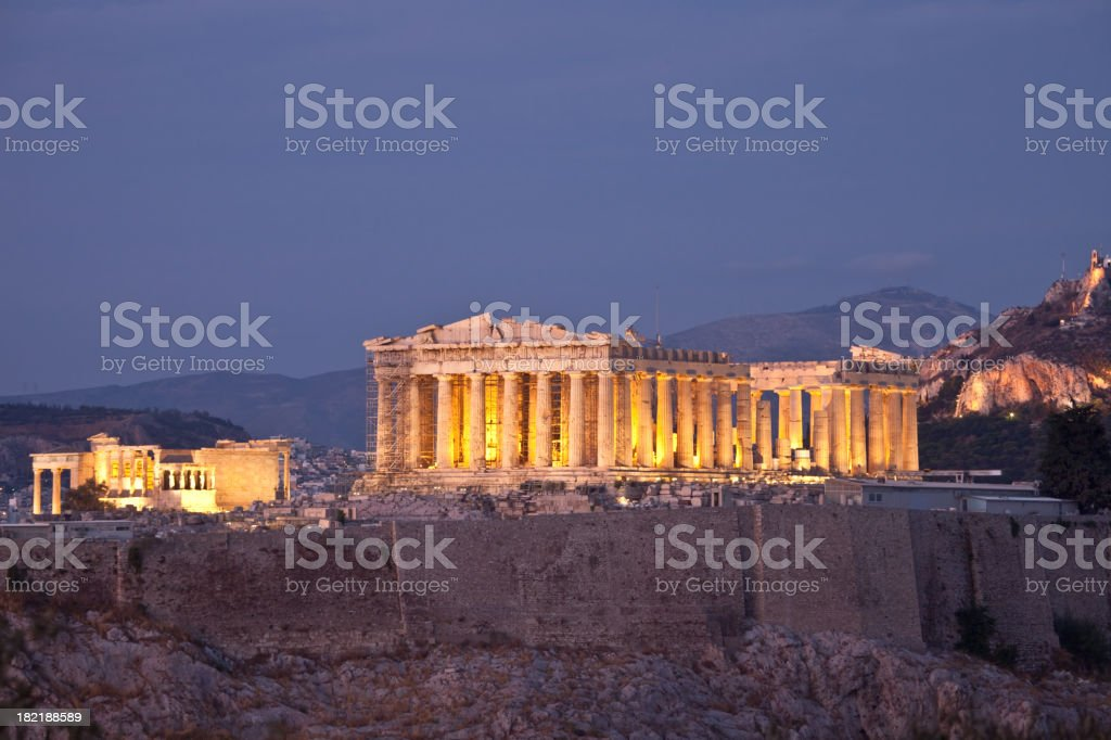 A view of the Parthenon at dusk stock photo