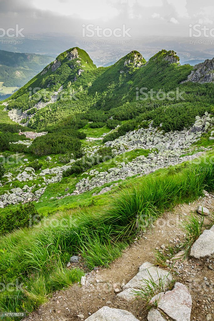 View of the peaks to a mountain path royalty-free stock photo