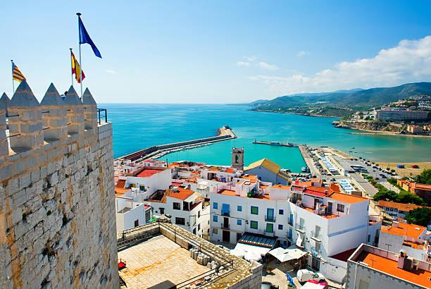 view of the peniscola port valencia - valencia stockfoto's en -beelden