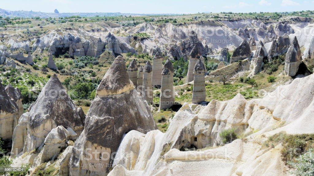 View of the Phallus Rock in the 'Love Valley' in Cappadocia in Anatolia, Turkey stock photo