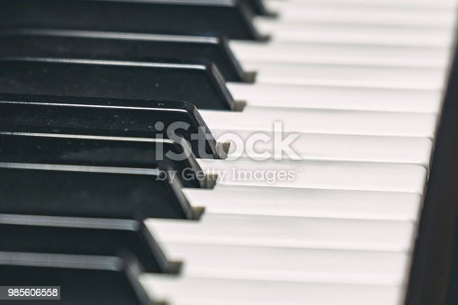 istock View of the piano keyboard on the side 985606558