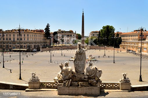 May 25th 2020, Rome, Italy: View of the Piazza del Popolo without tourists due to the phase 2 of lockdown