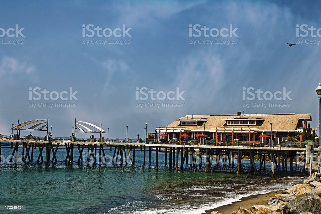 view of the pier and ocean royalty-free stock photo