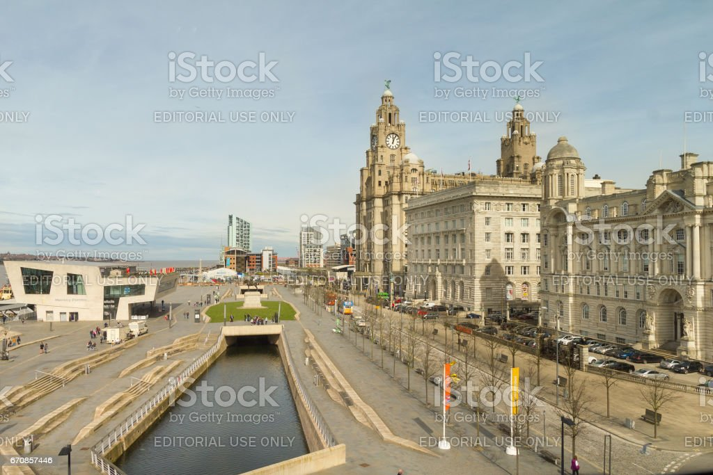 View of the Pier Head, the Beatles Store and the Three Graces, Liverpool, UK stock photo