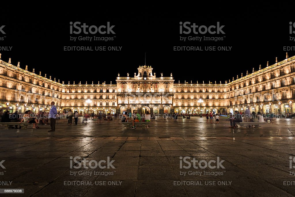 View of the Plaza Mayor of Salamanca night stock photo