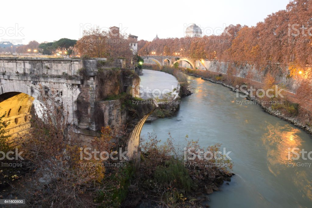 View of The Pons Aemilius bridge today called Ponte Rotto, is the oldest Roman stone bridge in Rome, Italy. stock photo