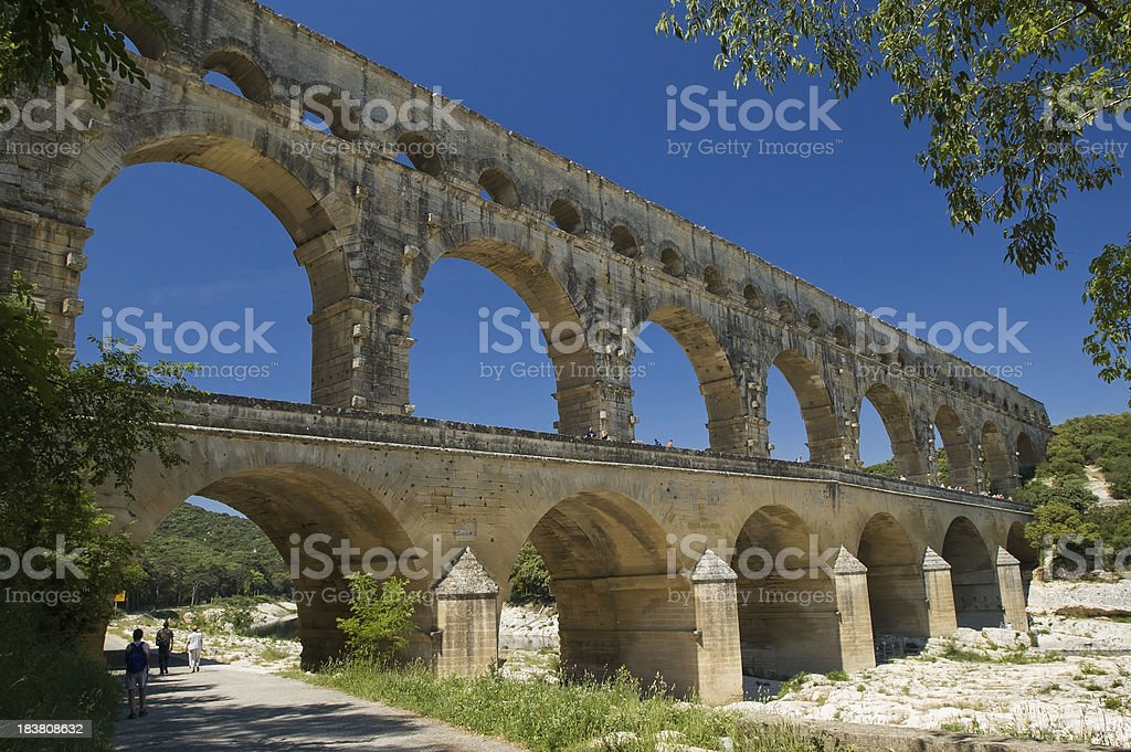 View of the Pont Du Gard in Provence stock photo