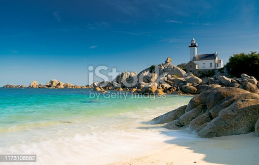 istock view of the Pontusval lighthouse and bay on the north coast of Brittany in France 1173108582