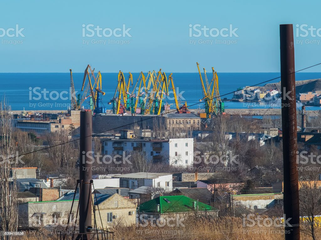View of the port and the construction cranes stock photo