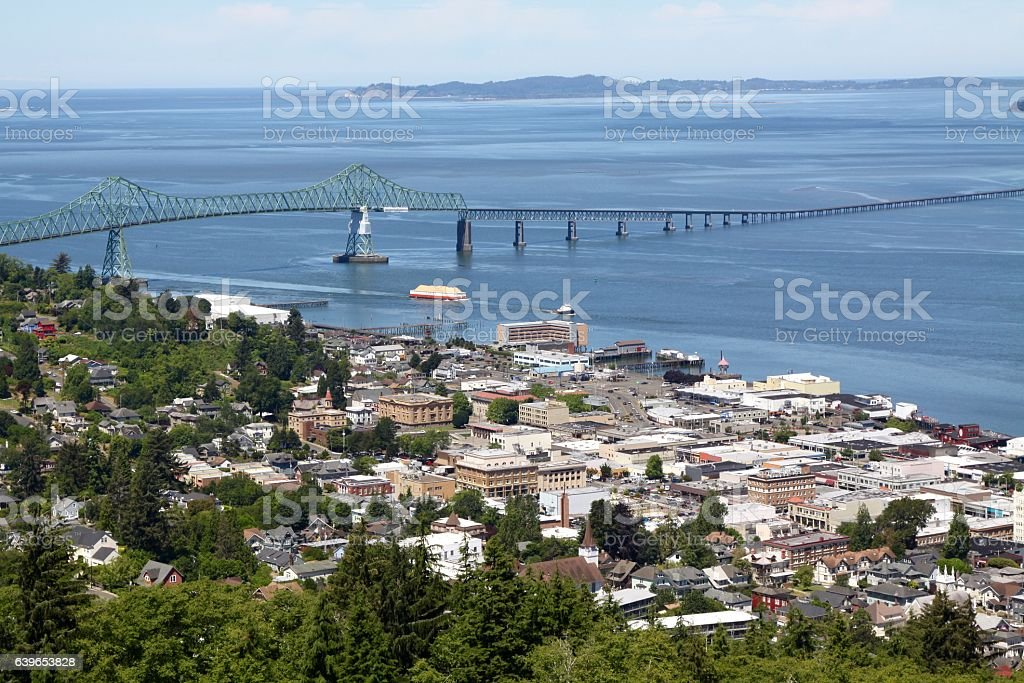 View Of The Port City Of Astoria Oregon stock photo