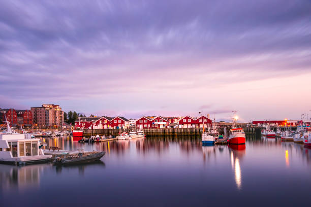 View of the Port of Bodo at evening in summer, Norway. stock photo