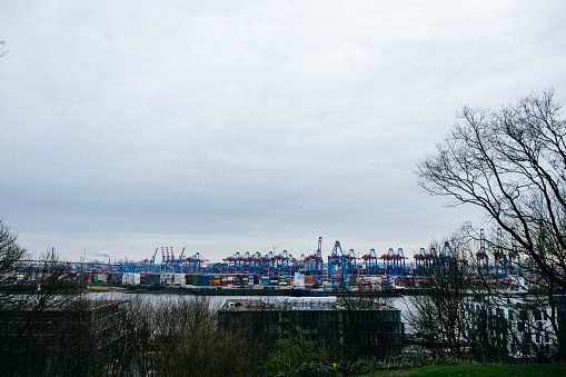 View of the port of Hamburg from the banks of Elbe