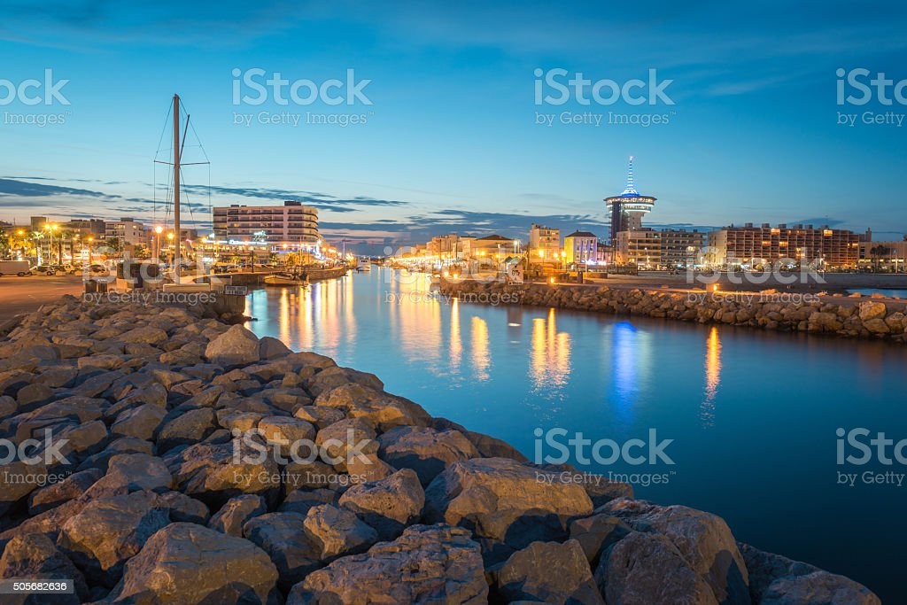 View of the port of Palavas at sunset stock photo