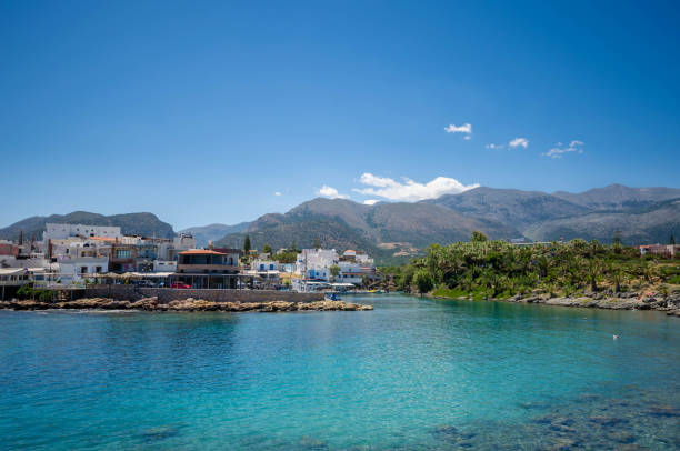View of the port of the traditional seaside village of Sisi in Crete. stock photo
