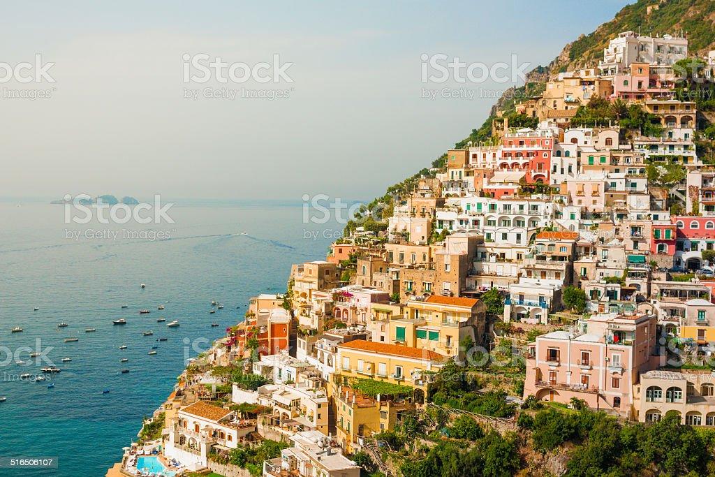 View of the Positano city at sunrise on Amalfi Coast stock photo