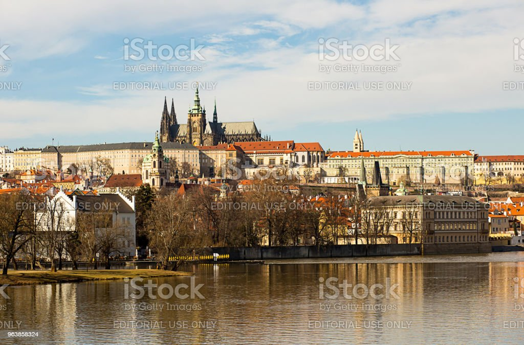 View of the Prague Castle saint vita, river Vltava small country. Prague Czech Republic February 2017 - Royalty-free Architecture Stock Photo