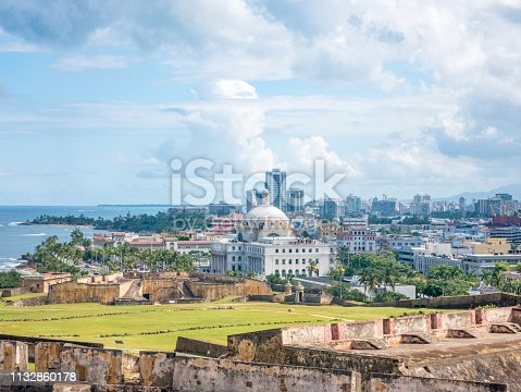 View of The Puerto Rico Capitol and San Juan from the fortification San Cristolbal