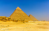 View of the Pyramids of Khafre and Khufu in Giza - Egypt