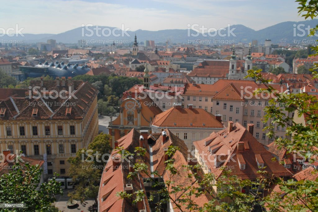View of the red roofs in Graz stock photo