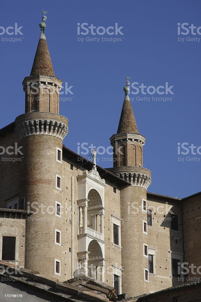 View of the renaissance Palace in Urbino stock photo