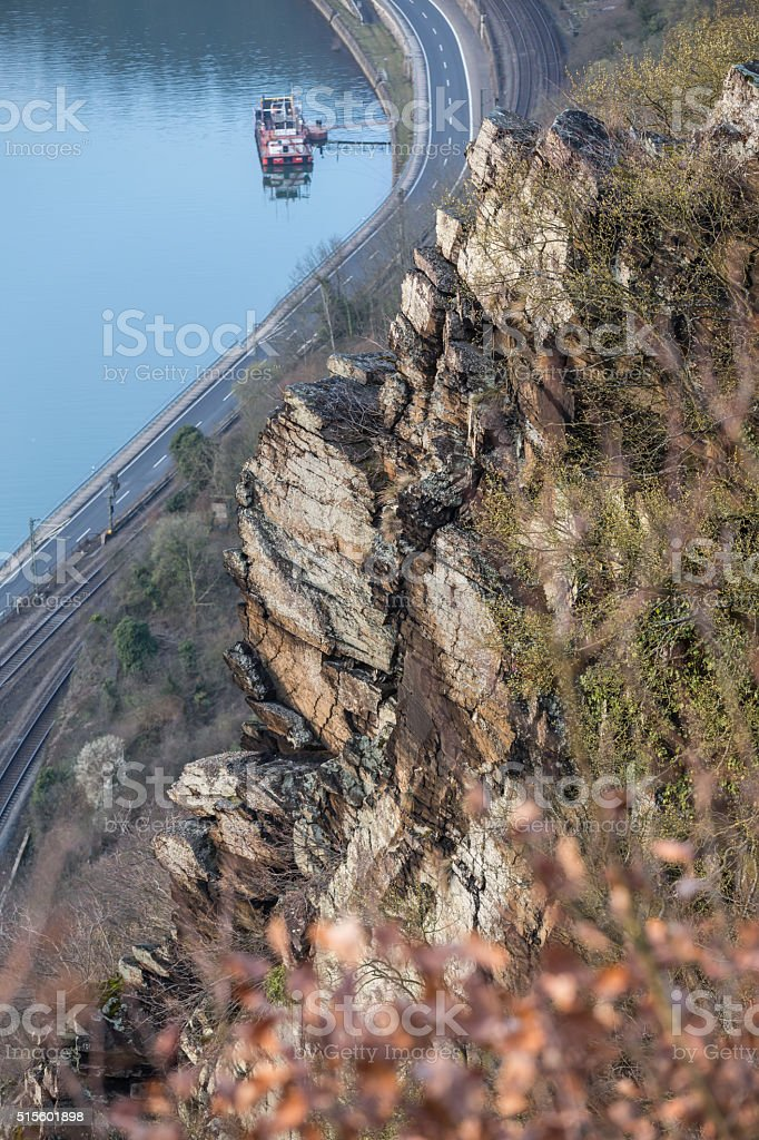view of the rhine valley from loreley rock in germany stock photo