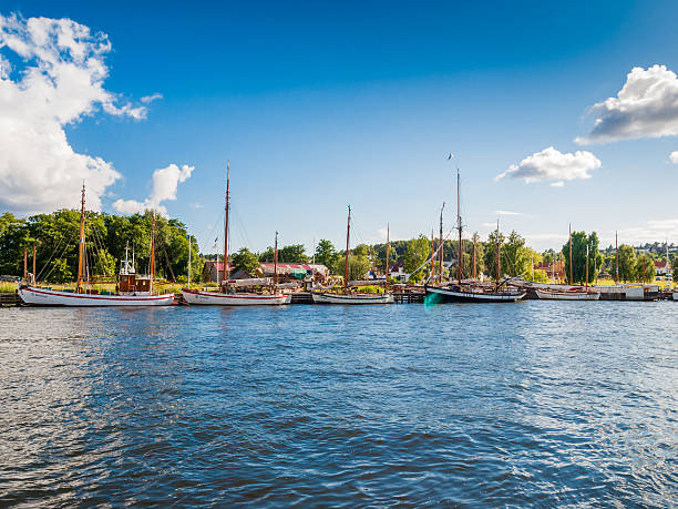 View of the river in Friedrikstad, Norway – Foto