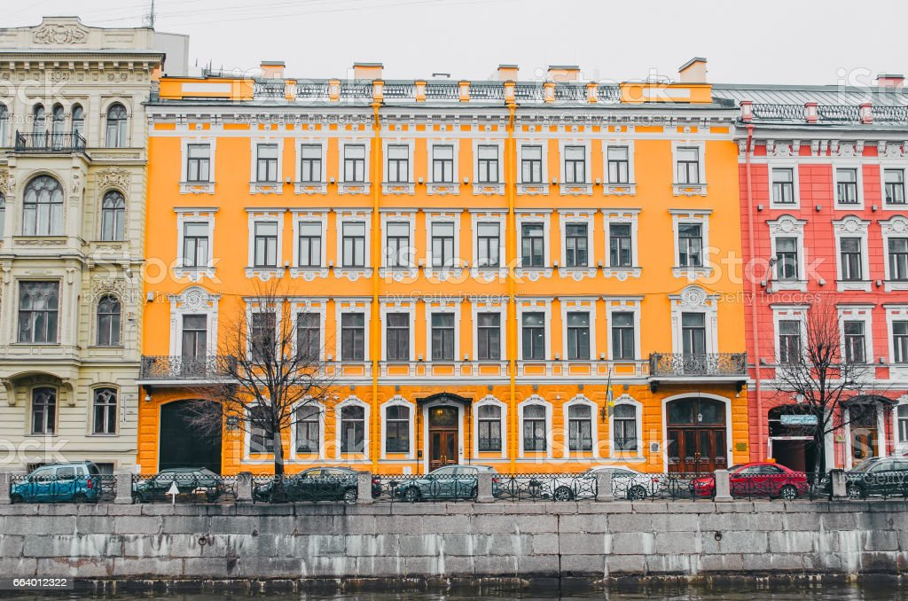 View of the river Moika embankment in St. Petersburg stock photo