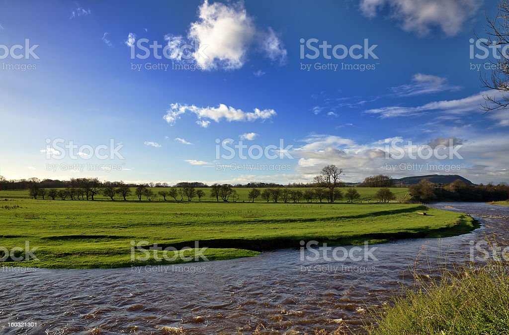 View of the River Ribble and fields, Clitheroe. stock photo