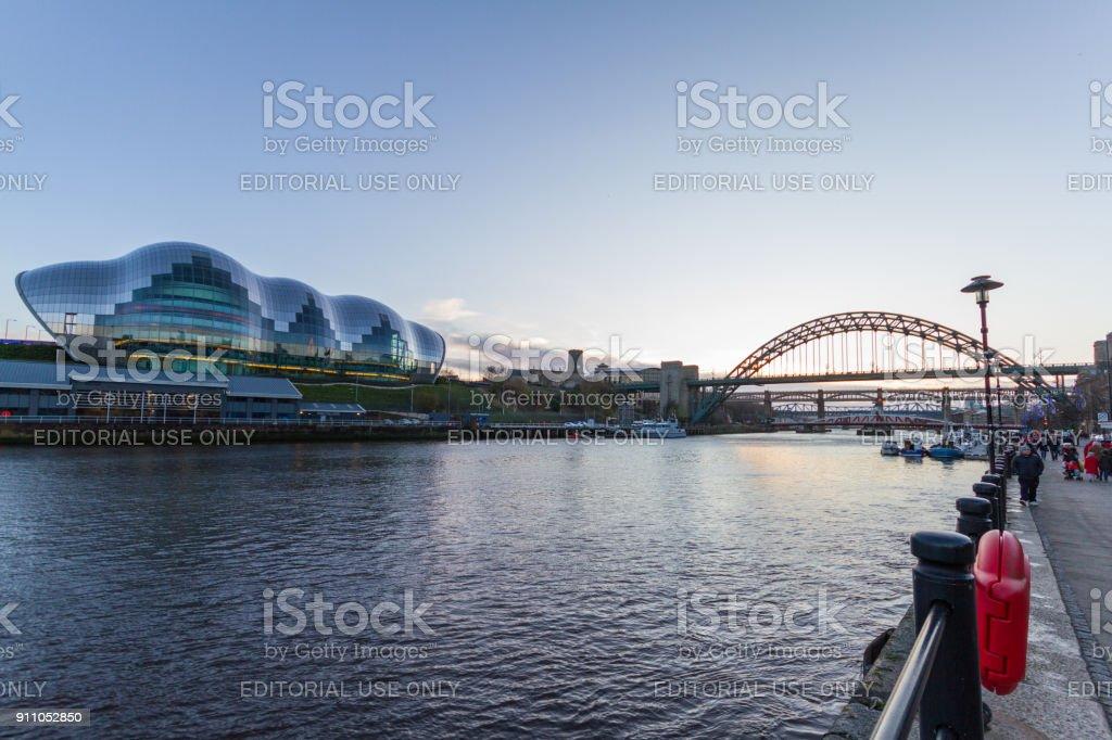 View of the river Tyne, Sage Gateshead concert hall and Tyne bridge at the Newcastle Quayside stock photo