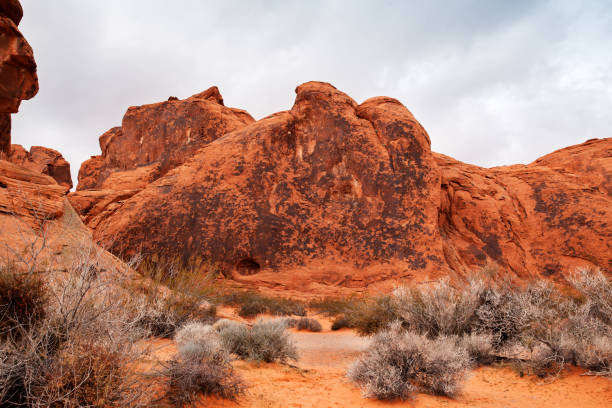 View of the rock formation in stone desert at Valley of Fire State Park in Southern Nevada stock photo