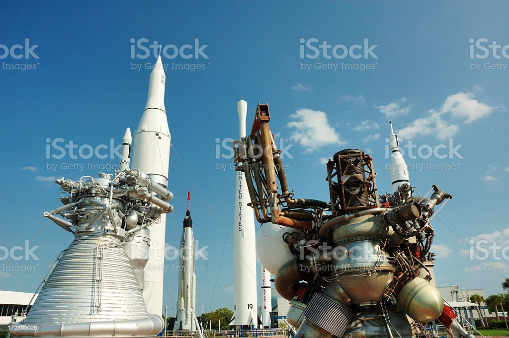 View of the rocket garden at Kennedy space center stock photo