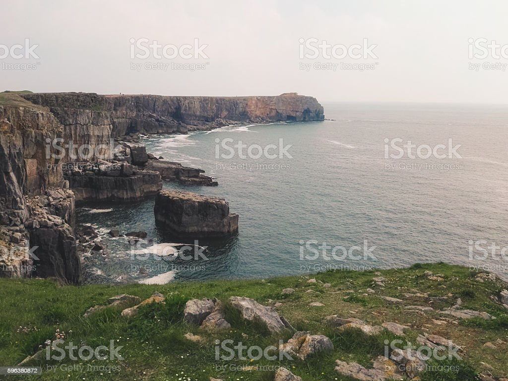 View of the rocky coast in St. Govan's Head stock photo