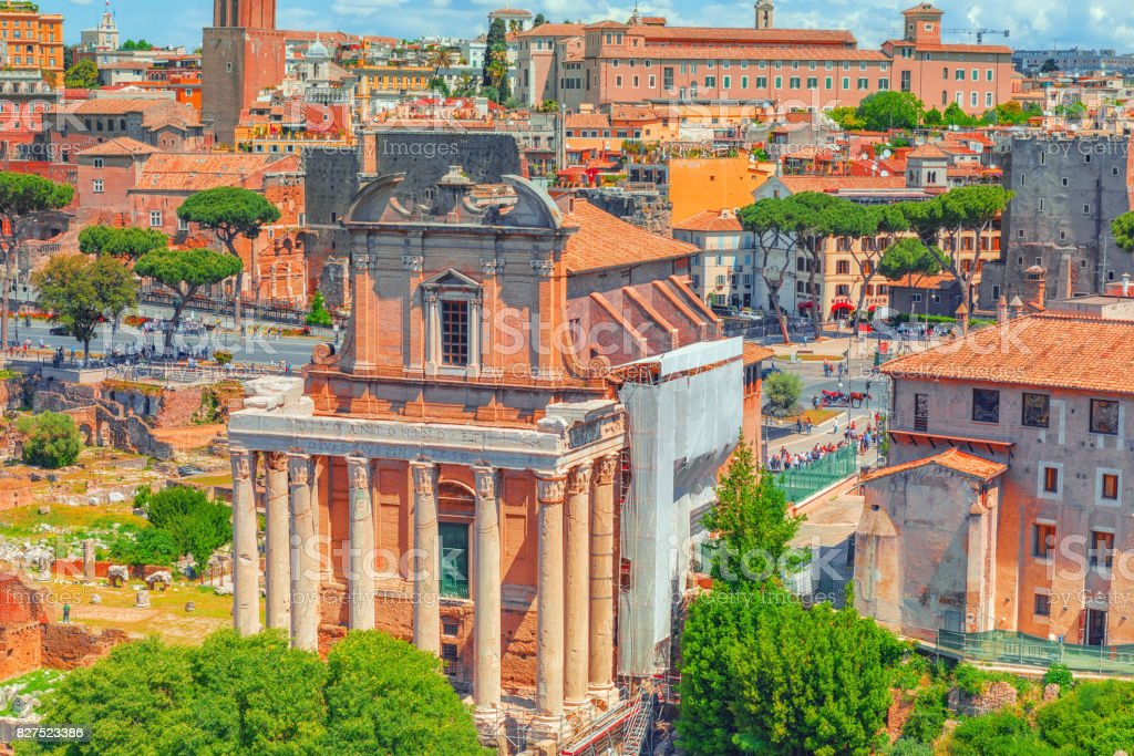 View of the Roman Forum from the Hill of Palatine - a general overview of the entire Roman Forum atop. stock photo