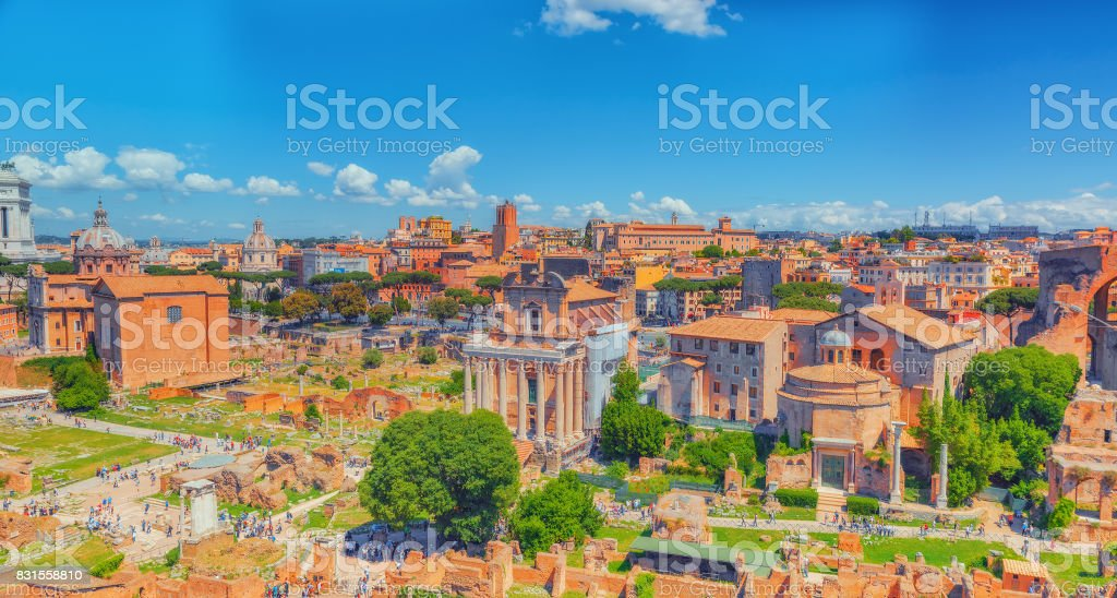 View of the Roman Forum from the Hill of Palatine - a general overview of the entire Roman Forum with all the sights. stock photo