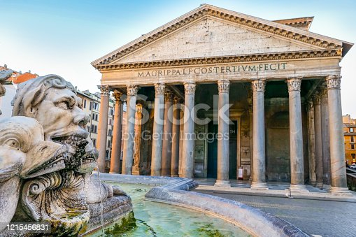 Rome, Italy -- A view of the Roman Pantheon and a portion of the fountain in Piazza della Rotonda. One of the best preserved Roman structures in the Eternal City, the Pantheon was built in 27 BC by Marco Vispanio Agrippa, son-in-law of the emperor Augustus, and dedicated to all Roman gods. The fountain was built by the sculptor Leonardo Sormani in 1575 based on a design by the architect Giacomo della Porta.