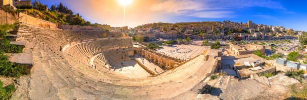 View of the Roman Theater and the city of Amman, Jordan stock photo