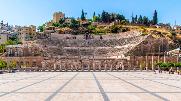 View of the Roman Theater in Amman View of the Roman Theater in Amman, Jordan amphitheater stock pictures, royalty-free photos & images