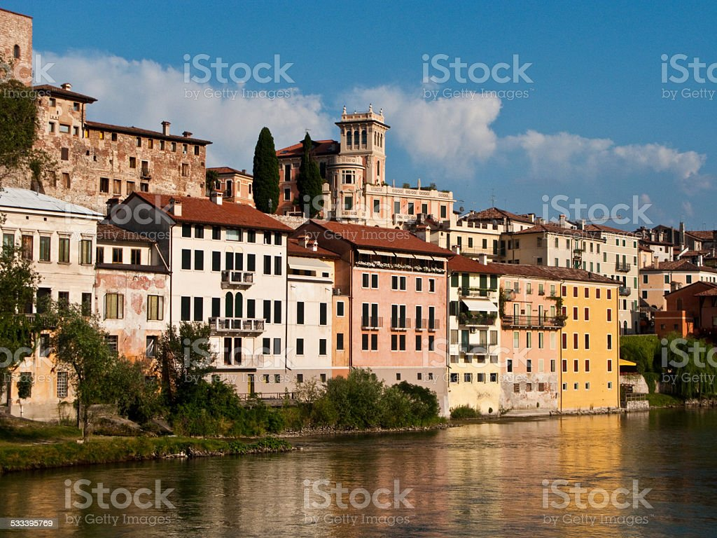 view of the romantic village Basano del Grappa stock photo