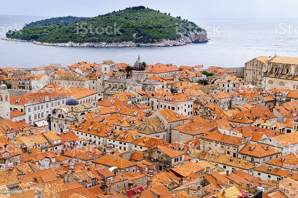 View of the roof tops  Dubrovnik, Croatia. stock photo