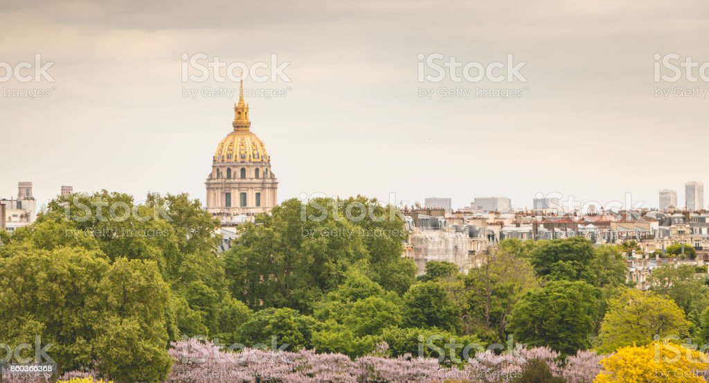 view of the roofs of the Invalides monument from the Place du Trocadero in Paris stock photo