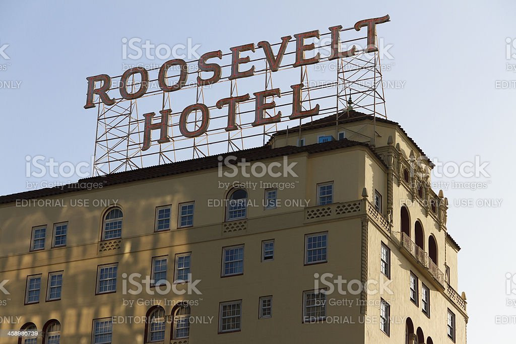 View of the Roosevelt Hotel In Hollywood California stock photo