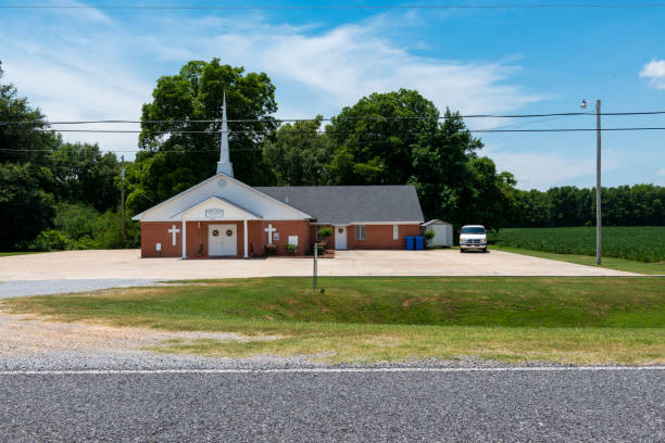 View of the Rose Hill Baptist Church near Mayersville, Mississippi stock photo