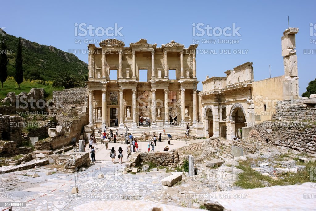 View of the ruins of the ancient library of Celsus in the ancient city of Ephesus. stock photo