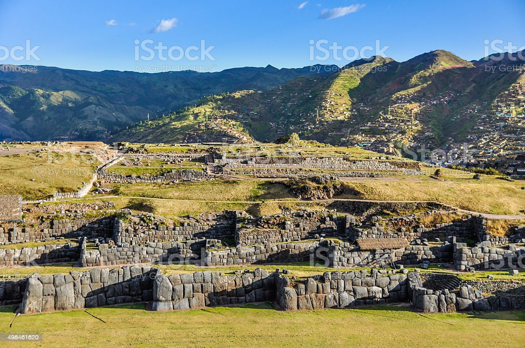 View of the ruins of the fortress of Saqsaywaman in Cusco, Peru stock photo