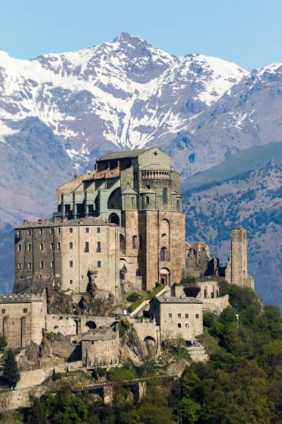 View of the Sacra di San Michele ( Saint Michael's Abbey) stock photo