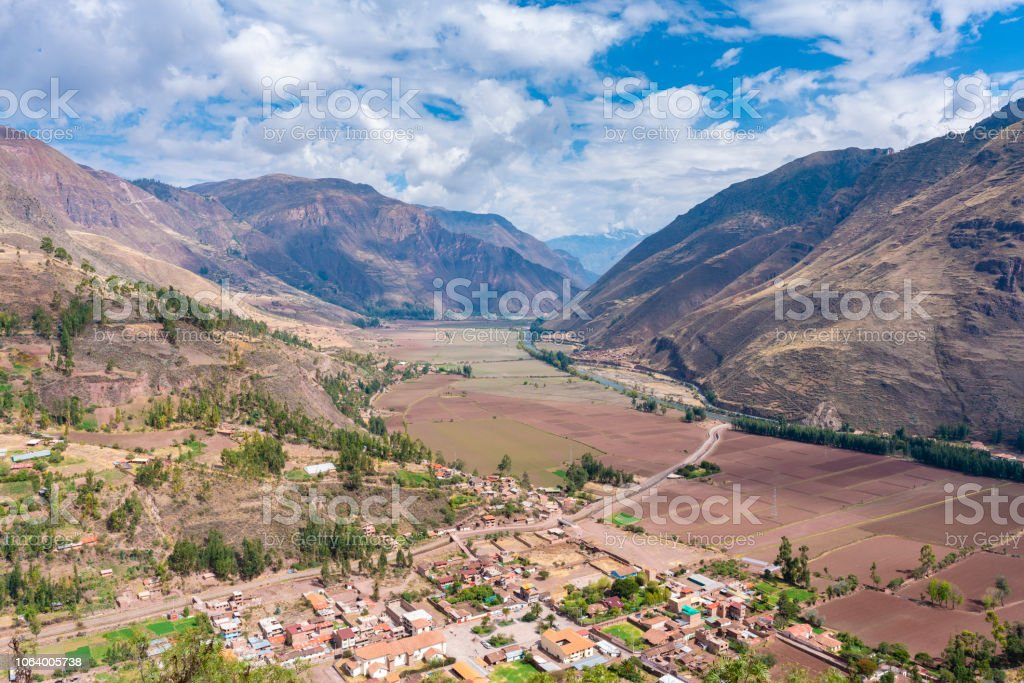 View of the Sacred Valley in Peru stock photo