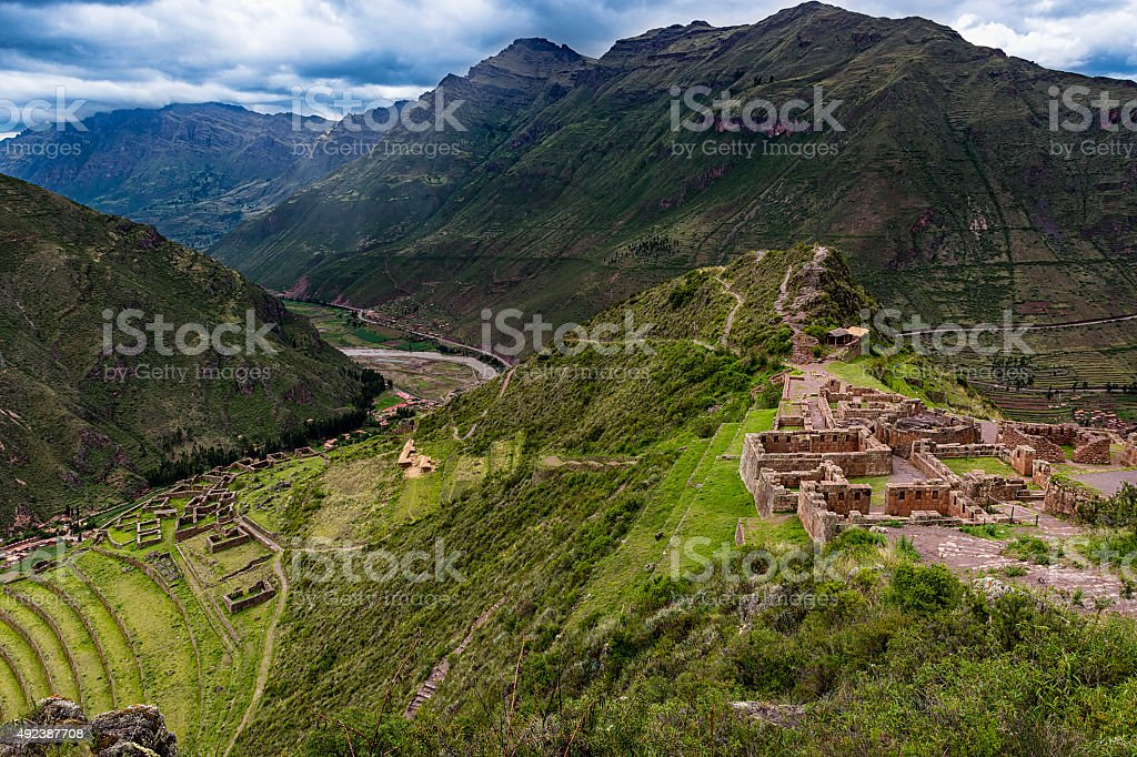 View of the Sacred Valley in Pisac stock photo